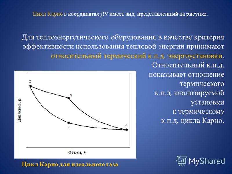 Цикл Карно в координатах j)V имеет вид, представленный на рисунке. Цикл Карно для идеального газа Для теплоэнергетического оборудования в качестве критерия эффективности использования тепловой энергии принимают относительный термический к.п.д. энерго