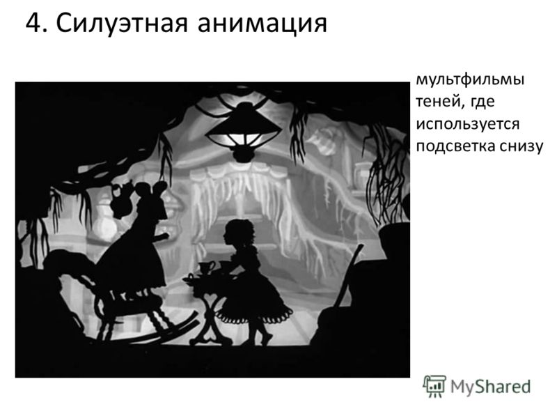 4. Силуэтная анимация мультфильмы теней, где используется подсветка снизу