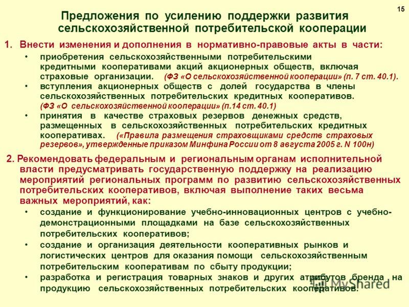 Предложения по усилению поддержки развития сельскохозяйственной потребительской кооперации 1.Внести изменения и дополнения в нормативно-правовые акты в части: приобретения сельскохозяйственными потребительскими кредитными кооперативами акций акционер