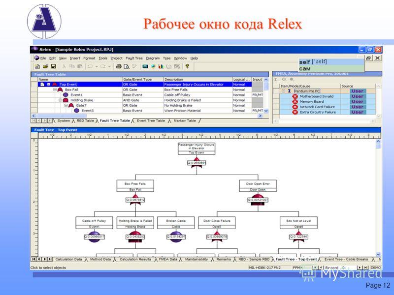 Page 12 Рабочее окно кода Relex