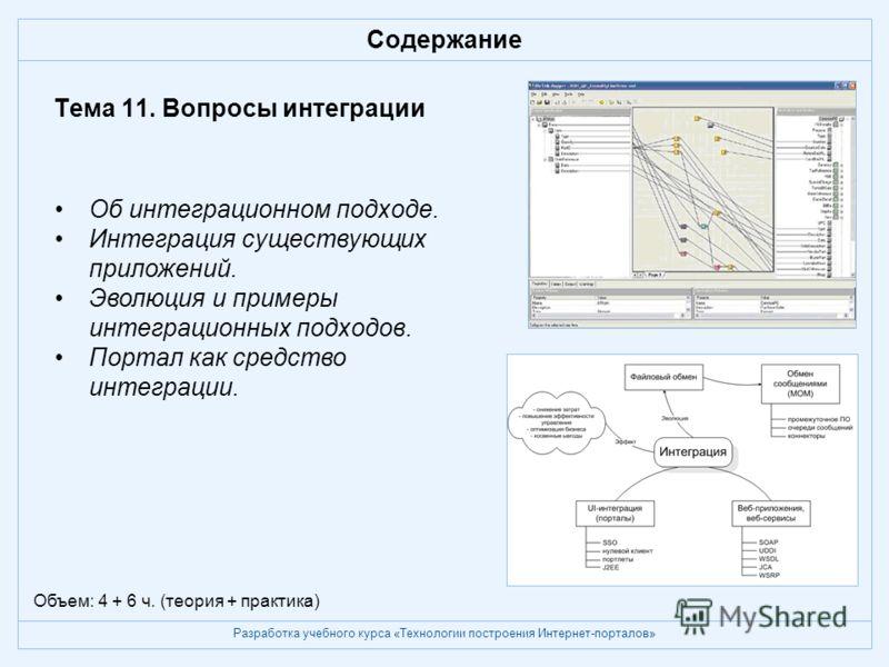 Разработка учебного курса «Технологии построения Интернет-порталов» Содержание Тема 11. Вопросы интеграции Об интеграционном подходе. Интеграция существующих приложений. Эволюция и примеры интеграционных подходов. Портал как средство интеграции. Объе