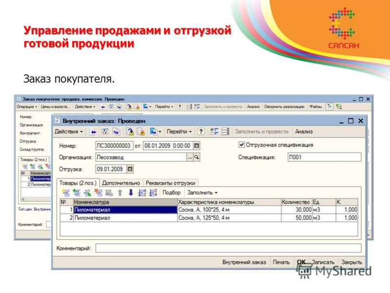 Управление продажами и отгрузкой готовой продукции Заказ покупателя.