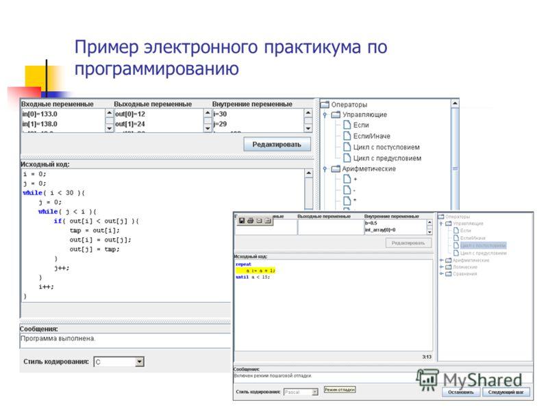 Пример электронного практикума по программированию