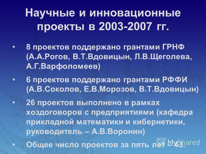 Научные и инновационные проекты в 2003-2007 гг. 8 проектов поддержано грантами ГРНФ (А.А.Рогов, В.Т.Вдовицын, Л.В.Щеголева, А.Г.Варфоломеев) 6 проектов поддержано грантами РФФИ (А.В.Соколов, Е.В.Морозов, В.Т.Вдовицын) 26 проектов выполнено в рамках х