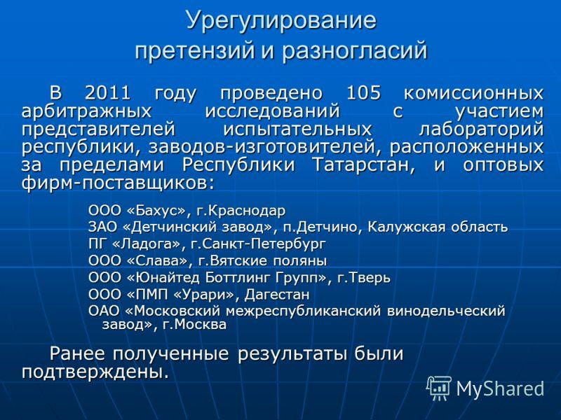 Урегулирование претензий и разногласий В 2011 году проведено 105 комиссионных арбитражных исследований с участием представителей испытательных лабораторий республики, заводов-изготовителей, расположенных за пределами Республики Татарстан, и оптовых ф