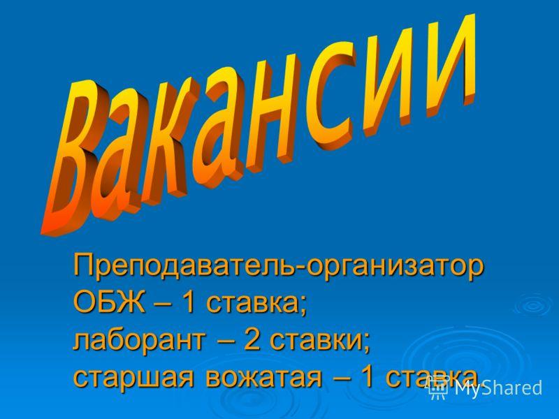 Преподаватель-организатор ОБЖ – 1 ставка; лаборант – 2 ставки; старшая вожатая – 1 ставка.
