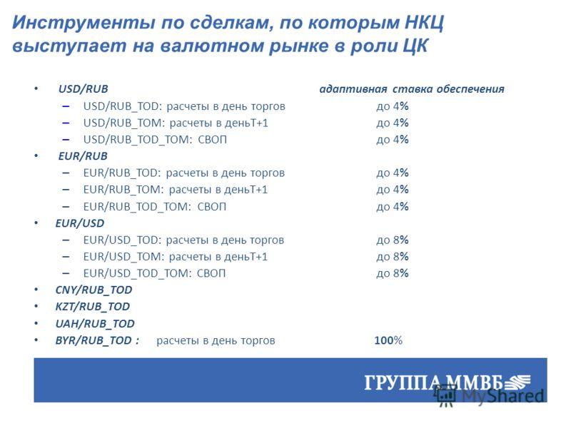 USD/RUBадаптивная ставка обеспечения – USD/RUB_TOD: расчеты в день торгов до 4% – USD/RUB_TOM: расчеты в деньT+1 до 4% – USD/RUB_TOD_TOM: СВОП до 4% EUR/RUB – EUR/RUB_TOD: расчеты в день торгов до 4% – EUR/RUB_TOM: расчеты в деньT+1 до 4% – EUR/RUB_T
