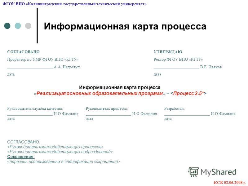 Презентация на тему Карта процессов ФГОУ ВПО КГТУ Для  13 Информационная