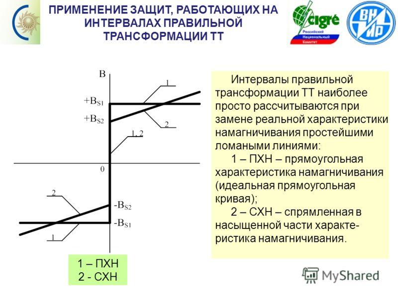 Содержание ПРИМЕНЕНИЕ ЗАЩИТ, РАБОТАЮЩИХ НА ИНТЕРВАЛАХ ПРАВИЛЬНОЙ ТРАНСФОРМАЦИИ ТТ 1 – ПХН 2 - СХН Интервалы правильной трансформации ТТ наиболее просто рассчитываются при замене реальной характеристики намагничивания простейшими ломаными линиями: 1 –