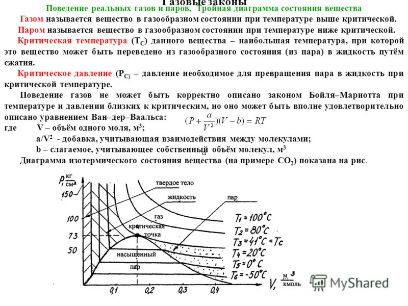 Газовые законы Поведение реальных газов и паров, Тройная диаграмма состояния вещества Газом называется вещество в газообразном состоянии при температуре выше критической. Паром называется вещество в газообразном состоянии при температуре ниже критиче