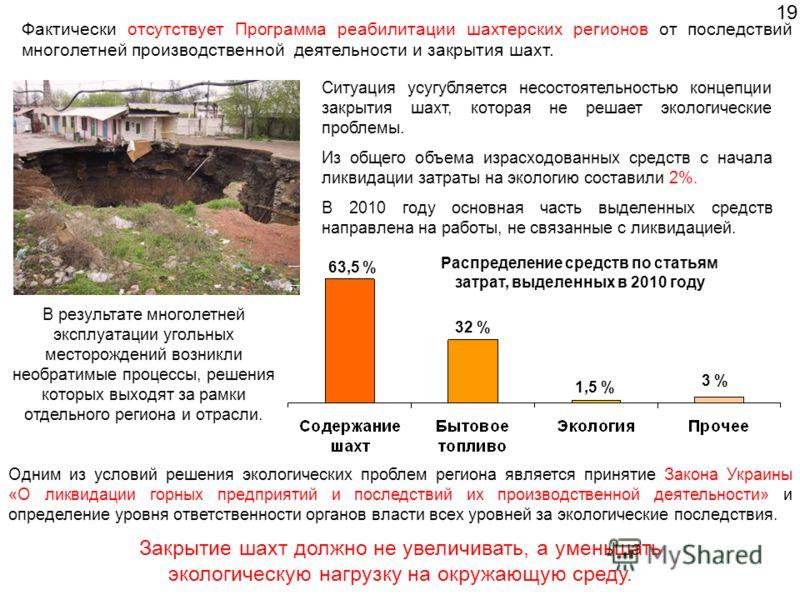 Одним из условий решения экологических проблем региона является принятие Закона Украины «О ликвидации горных предприятий и последствий их производственной деятельности» и определение уровня ответственности органов власти всех уровней за экологические