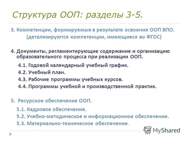 Структура ООП: разделы 3-5. 3. Компетенции, формируемые в результате освоения ООП ВПО. ( детализируются компетенции, имеющиеся во ФГОС ) 4. Документы, регламентирующие содержание и организацию образовательного процесса при реализации ООП. 4.1. Годово
