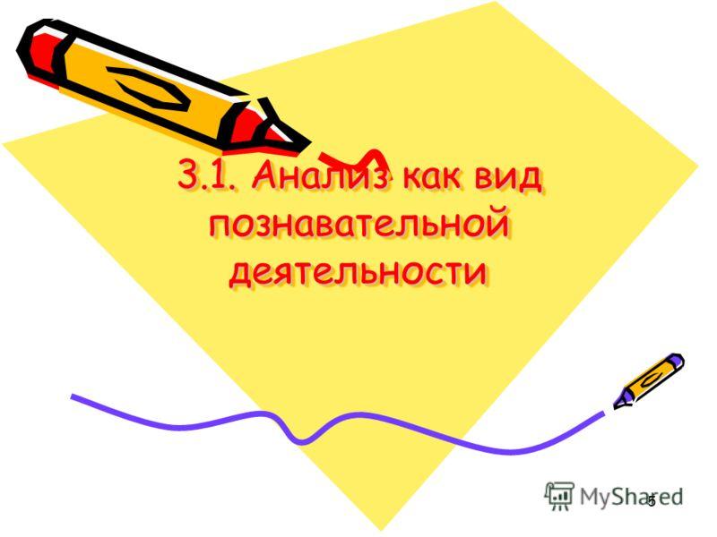 5 3.1. Анализ как вид познавательной деятельности
