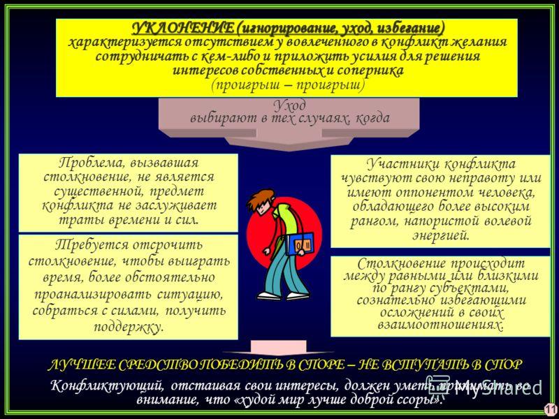 УКЛОНЕНИЕ (игнорирование, уход, избегание) УКЛОНЕНИЕ (игнорирование, уход, избегание) характеризуется отсутствием у вовлеченного в конфликт желания сотрудничать с кем-либо и приложить усилия для решения интересов собственных и соперника (проигрыш – п