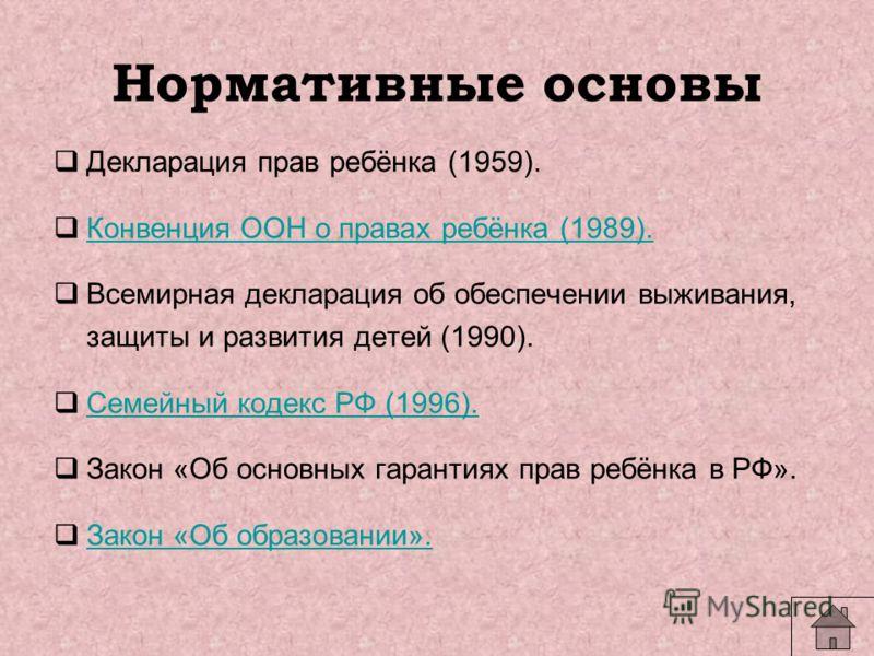 Нормативные основы Декларация прав ребёнка (1959). Конвенция ООН о правах ребёнка (1989). Всемирная декларация об обеспечении выживания, защиты и развития детей (1990). Семейный кодекс РФ (1996). Закон «Об основных гарантиях прав ребёнка в РФ». Закон