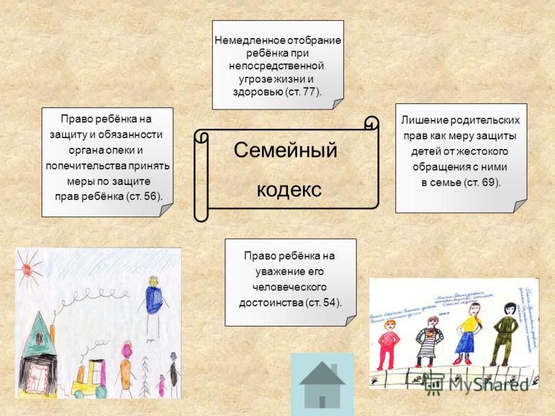 Право ребёнка на защиту и обязанности органа опеки и попечительства принять меры по защите прав ребёнка (ст. 56). Право ребёнка на уважение его человеческого достоинства (ст. 54). Лишение родительских прав как меру защиты детей от жестокого обращения