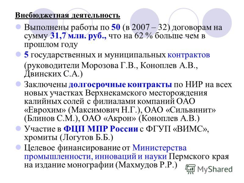 Внебюджетная деятельность Выполнены работы по 50 (в 2007 – 32) договорам на сумму 31,7 млн. руб., что на 62 % больше чем в прошлом году 5 государственных и муниципальных контрактов (руководители Морозова Г.В., Коноплев А.В., Двинских С.А.) Заключены