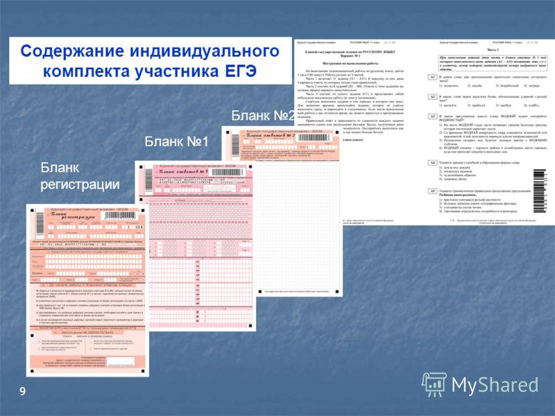 9 Содержание индивидуального комплекта участника ЕГЭ Бланк регистрации Бланк 1 Бланк 2