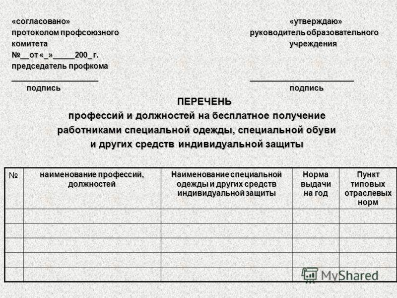 «согласовано»«утверждаю» протоколом профсоюзного руководитель образовательного комитетаучреждения __от «_»_____200_ г. председатель профкома ____________________________________________ подписьподпись ПЕРЕЧЕНЬ профессий и должностей на бесплатное пол