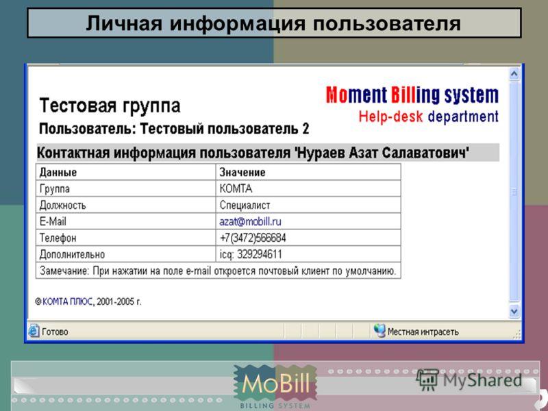 Личная информация пользователя