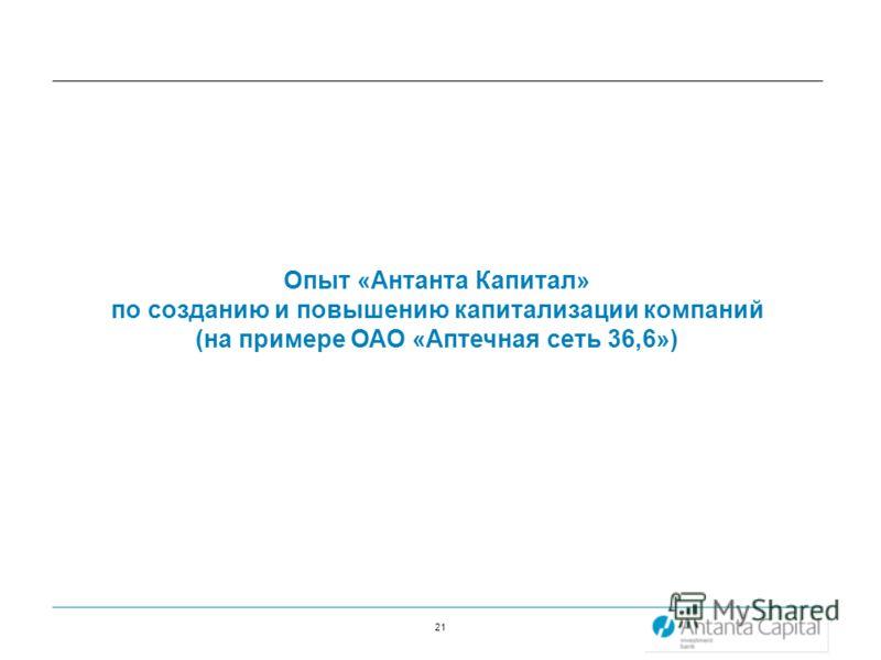 21 Опыт «Антанта Капитал» по созданию и повышению капитализации компаний (на примере ОАО «Аптечная сеть 36,6»)