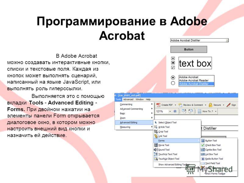 Программирование в Adobe Acrobat В Adobe Acrobat можно создавать интерактивные кнопки, списки и текстовые поля. Каждая из кнопок может выполнять сценарий, написанный на языке JavaScript, или выполнять роль гиперссылки. Выполняется это с помощью вклад