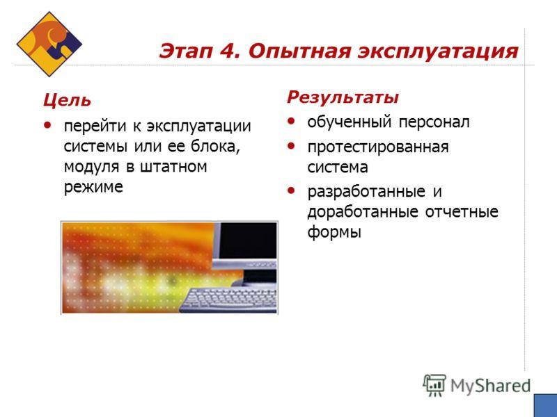 Этап 4. Опытная эксплуатация Цель перейти к эксплуатации системы или ее блока, модуля в штатном режиме Результаты обученный персонал протестированная система разработанные и доработанные отчетные формы