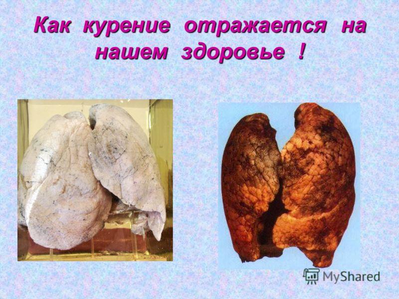 Как курение отражается на нашем здоровье !