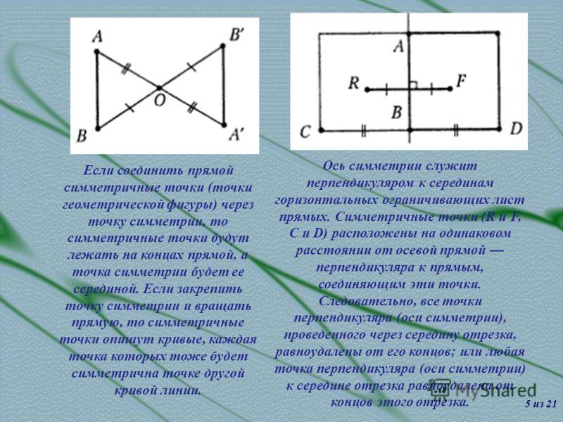 Если соединить прямой симметричные точки (точки геометрической фигуры) через точку симметрии, то симметричные точки будут лежать на концах прямой, а точка симметрии будет ее серединой. Если закрепить точку симметрии и вращать прямую, то симметричные