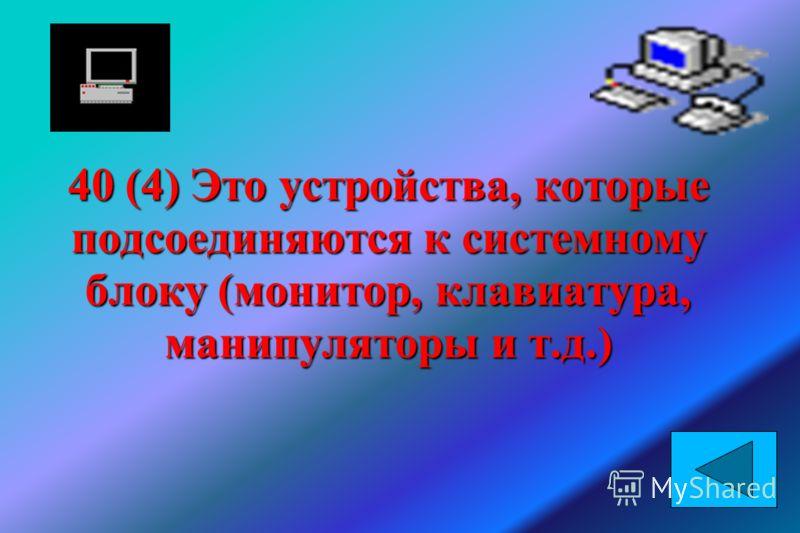 40 (4) Это устройства, которые подсоединяются к системному блоку (монитор, клавиатура, манипуляторы и т.д.)