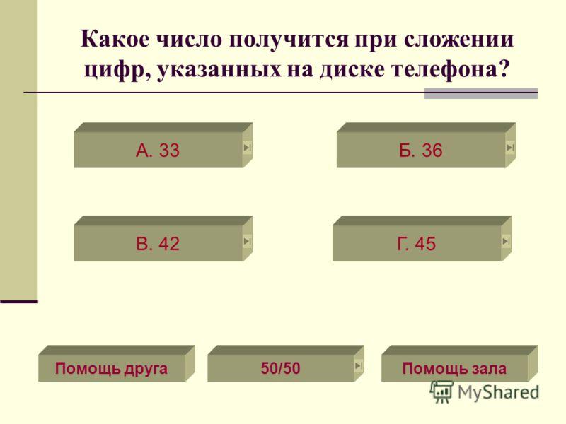Какое число получится при сложении цифр, указанных на диске телефона? В. 42Г. 45 А. 33Б. 36 Помощь зала50/50Помощь друга