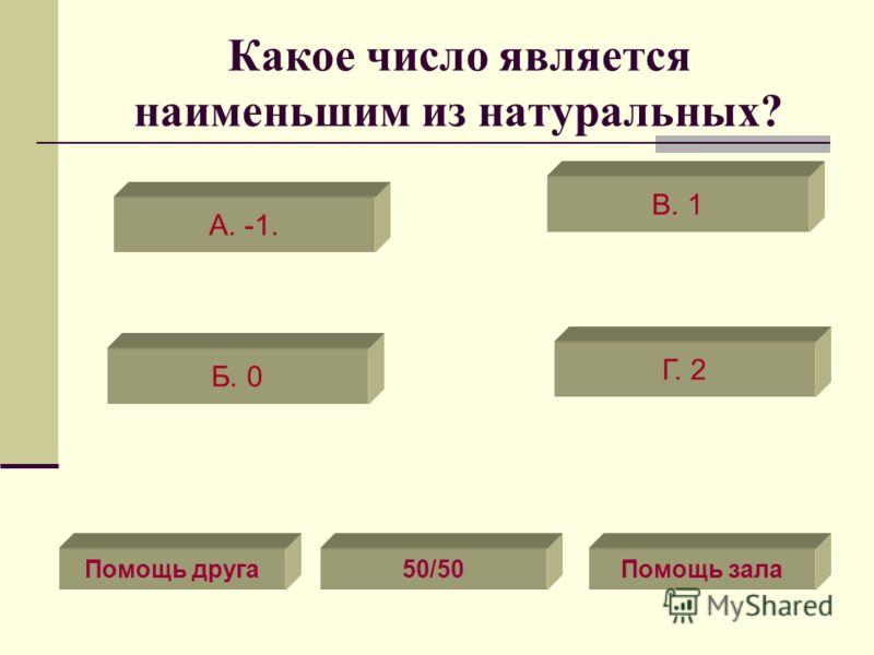 Какое число является наименьшим из натуральных? А. -1. Б. 0 Г. 2 В. 1 Помощь друга50/50Помощь зала