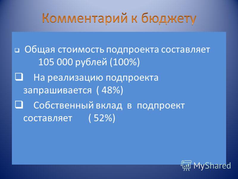 Общая стоимость подпроекта составляет 105 000 рублей (100%) На реализацию подпроекта запрашивается ( 48%) Собственный вклад в подпроект составляет ( 52%)