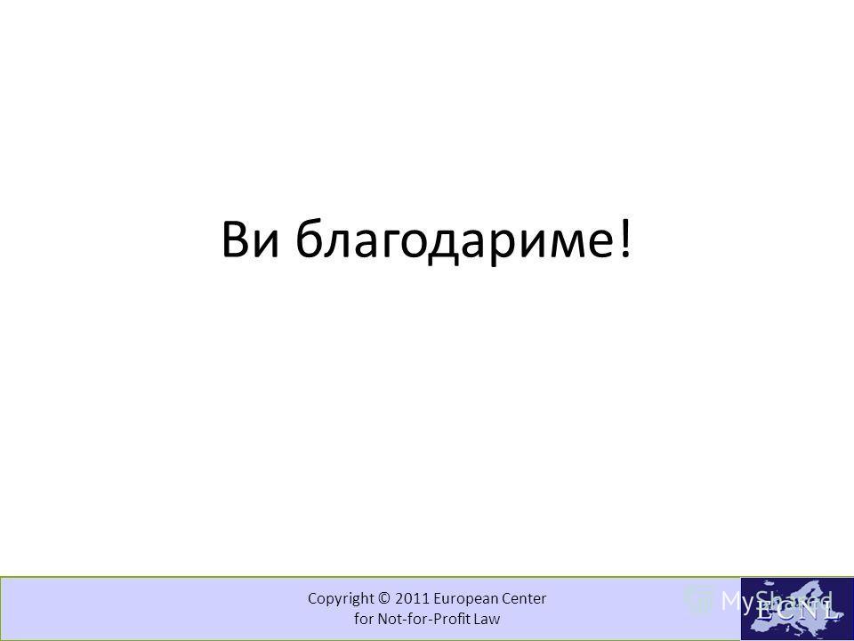 Copyright © 2011 European Center for Not-for-Profit Law Препораки или што да се земе во предвид кога се работи на модел? Што е целта? Која е целната група? Кога да се инволвира целната група? Како да се регулира? Како да се обезбеди поширока вклучено