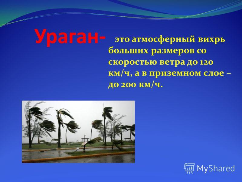 Ураган- это атмосферный вихрь больших размеров со скоростью ветра до 120 км/ч, а в приземном слое – до 200 км/ч.