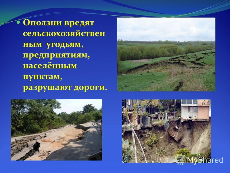 Оползни вредят сельскохозяйствен ным угодьям, предприятиям, населённым пунктам, разрушают дороги.