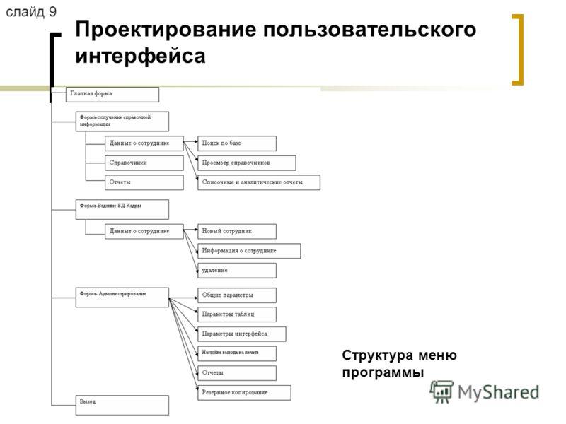 Проектирование пользовательского интерфейса Структура меню программы слайд 9