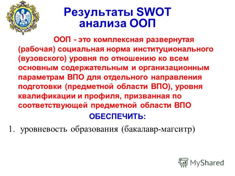 Результаты SWOT анализа ООП ООП - это комплексная развернутая (рабочая) социальная норма институционального (вузовского) уровня по отношению ко всем основным содержательным и организационным параметрам ВПО для отдельного направления подготовки (предм