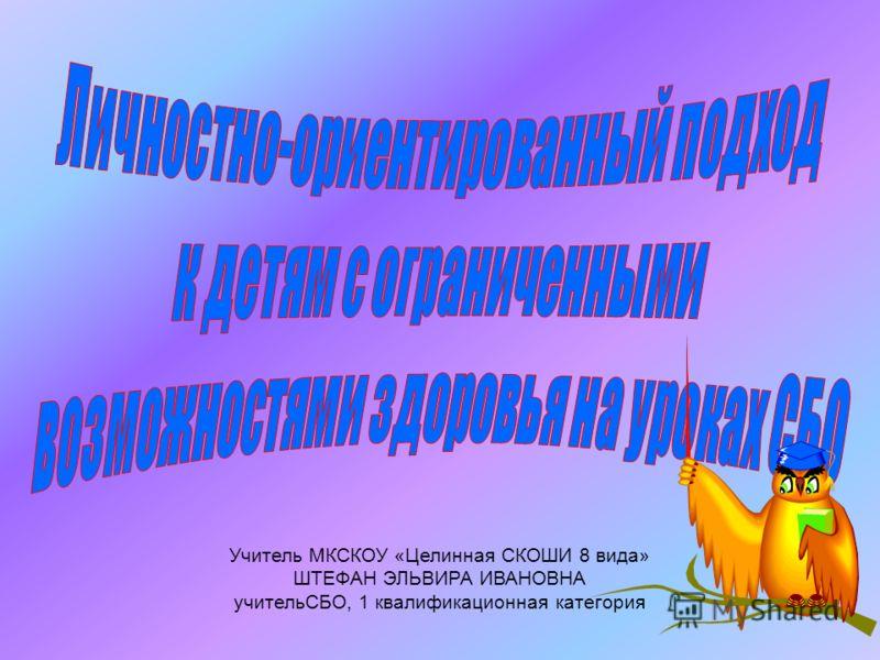Учитель МКСКОУ «Целинная СКОШИ 8 вида» ШТЕФАН ЭЛЬВИРА ИВАНОВНА учительСБО, 1 квалификационная категория