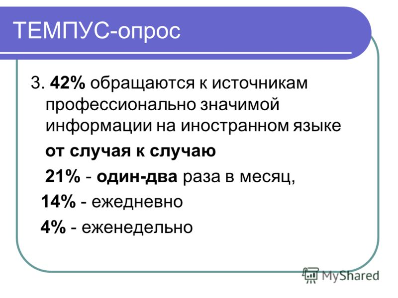 ТЕМПУС-опрос 3. 42% обращаются к источникам профессионально значимой информации на иностранном языке от случая к случаю 21% - один-два раза в месяц, 14% - ежедневно 4% - еженедельно
