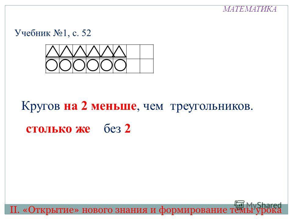 МАТЕМАТИКА Учебник 1, с. 52 II. «Открытие» нового знания и формирование темы урока столько же без 2 без 2 Кругов на 2 меньше, чем треугольников. столько же