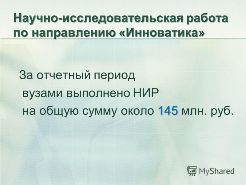 Научно-исследовательская работа по направлению «Инноватика» За отчетный период вузами выполнено НИР 145 на общую сумму около 145 млн. руб.