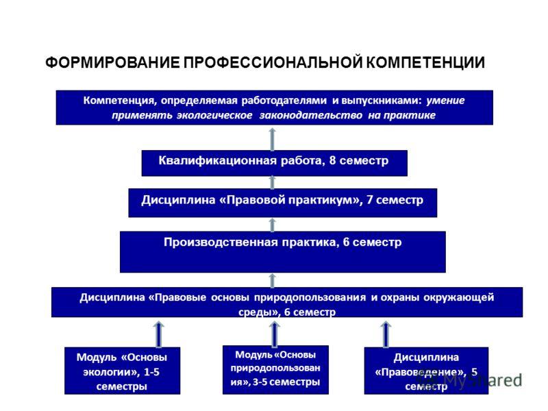 ФОРМИРОВАНИЕ ПРОФЕССИОНАЛЬНОЙ КОМПЕТЕНЦИИ Компетенция, определяемая работодателями и выпускниками: умение применять экологическое законодательство на практике Квалификационная работа, 8 семестр Дисциплина «Правовой практикум», 7 семестр Дисциплина «П