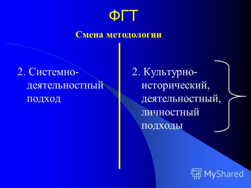 ФГТ 2. Системно- деятельностный подход 2. Культурно- исторический, деятельностный, личностный подходы Смена методологии