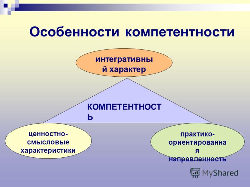 Особенности компетентности ценностно- смысловые характеристики КОМПЕТЕНТНОСТ Ь интегративны й характер практико- ориентированна я направленность