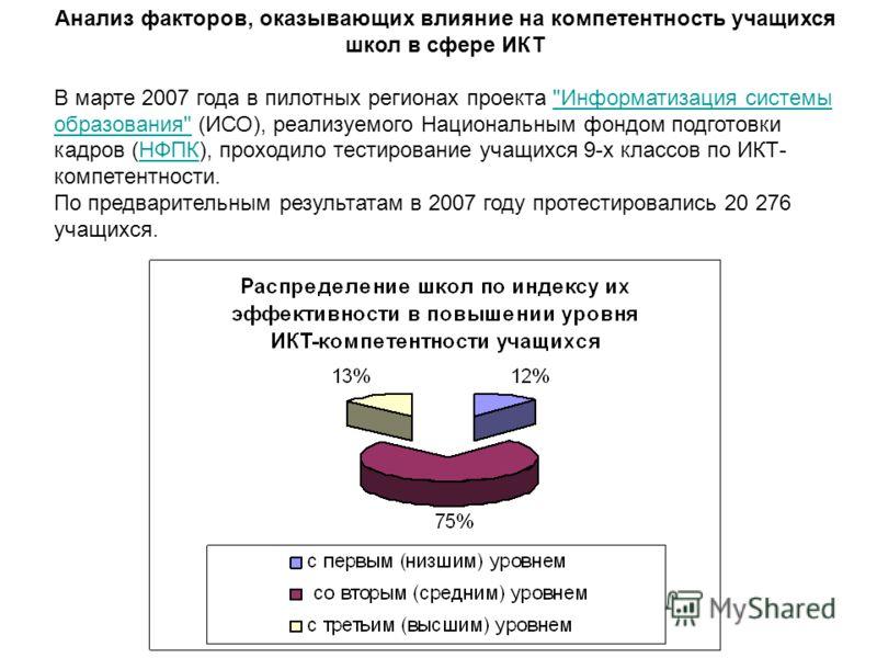Анализ факторов, оказывающих влияние на компетентность учащихся школ в сфере ИКТ В марте 2007 года в пилотных регионах проекта