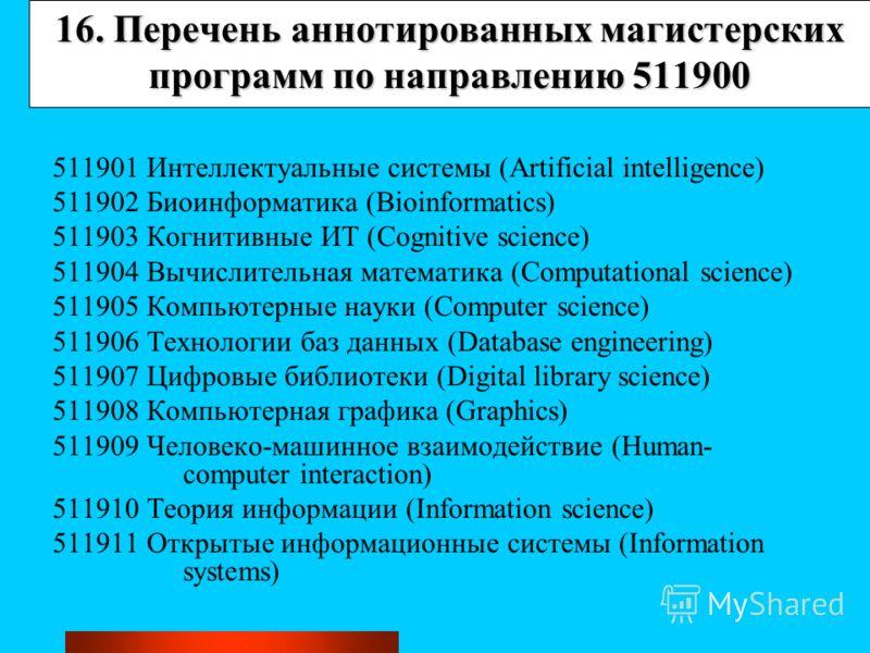 16. Перечень аннотированных магистерских программ по направлению 511900 511901 Интеллектуальные системы (Artificial intelligence) 511902 Биоинформатика (Bioinformatics) 511903 Когнитивные ИТ (Cognitive science) 511904 Вычислительная математика (Compu