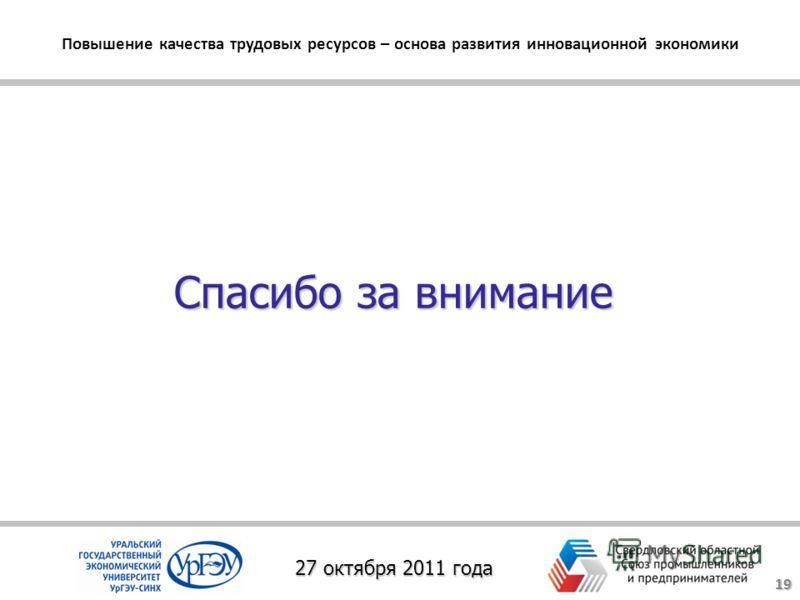Спасибо за внимание Повышение качества трудовых ресурсов – основа развития инновационной экономики 27 октября 2011 года 19