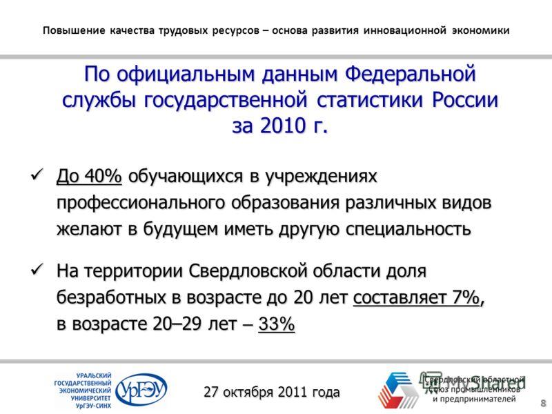 По официальным данным Федеральной службы государственной статистики России за 2010 г. До 40% обучающихся в учреждениях профессионального образования различных видов желают в будущем иметь другую специальность До 40% обучающихся в учреждениях професси