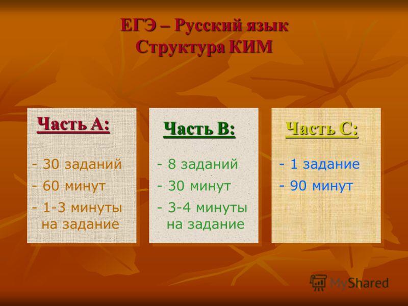 ЕГЭ – Русский язык Структура КИМ Часть А: - 30 заданий - 60 минут - 1-3 минуты на задание Часть В: - 8 заданий - 30 минут - 3-4 минуты на задание Часть С: - 1 задание - 90 минут